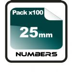 2.5cm (25mm) Race Numbers - 100 pack